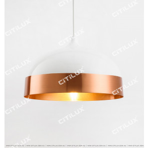 Modern Minimalist Single Head Chandelier Short Section - White + Gold Citilux