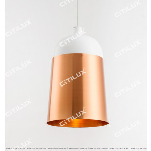 Modern Minimalist Single Head Chandelier High-White + Gold Citilux