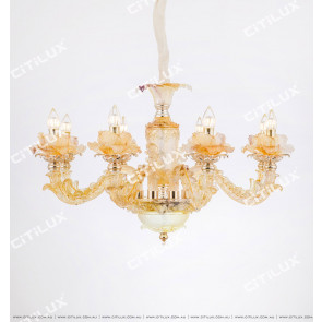 European Handmade Glass Carved Large Chandelier Citilux