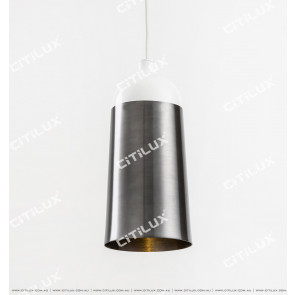 Modern Minimalist Single Head Chandelier High-White + Silver Citilux
