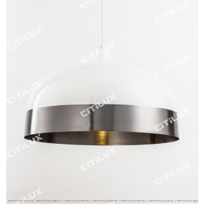 Modern Minimalist Single Head Chandelier Short Section - White + Silver Citilux
