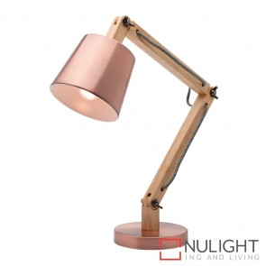 Piper 1 Light Natural Timber Table Lamp Copper MEC
