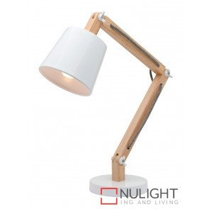 Piper 1 Light Natural Timber Table Lamp White MEC