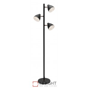 Jeremy 3 Light Floor Lamp Black MEC