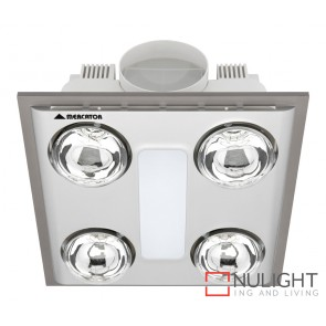 Cosmo Quattro Bathroom Heater with Exhaust & Light Silver MEC