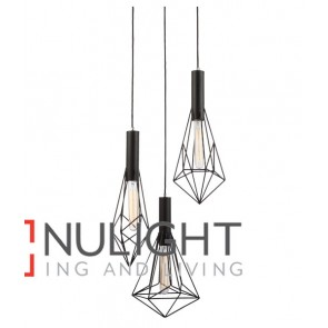 PENDANT ES x 3 72W Black IRON CAGE VARIED / Round BASE OD390mm x L800mm Carbon Filament Globes incl CLA