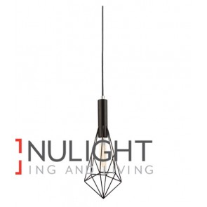 PENDANT ES 72W Black IRON CAGE Small DIAMOND OD175mm x H440mm Carbon Filament globe incl CLA