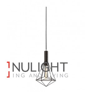 PENDANT ES 72W Black IRON CAGE Large DIAMOND OD250mm x H340mm Carbon Filament globe incl CLA