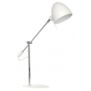 Mylo One Light Metal Anglepoise Table Lamp in Chrome / White Brilliant Lighting