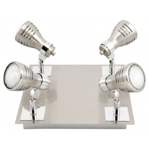 Sorrento Eco Four Light Ceiling Spotlight in Brushed Chrome Brilliant Lighting