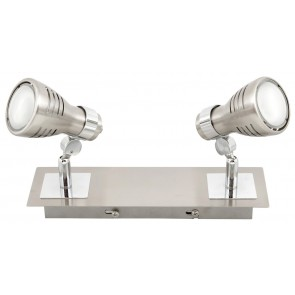 Sorrento Eco Two Light Ceiling Spotlight in Brushed Chrome Brilliant Lighting