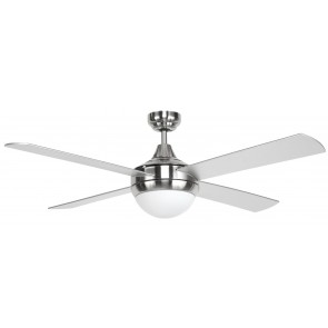 Whirlwind 132cm Ceiling Fan Brushed Steel Motor Housing/Silver Plywood Blades Brilliant Lighting