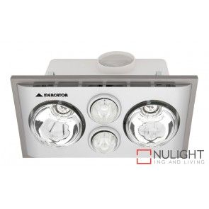 Lava Duo Bathroom Heater with Exhaust & Light Silver MEC