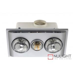 Uniglow LED Bathroom Heater with Exhaust & Light Silver MEC