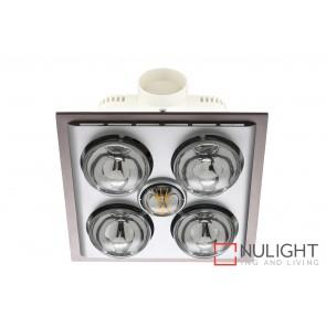 Lava Quattro LED Bathroom Heater with Exhaust & Light Silver MEC