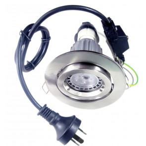 GU10 Gimbal LED Downlight Kit in Satin Chrome / Warm White CLA Lighting