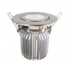 Tilt Round 13W Dimmable LED Downlight in Warm White / Satin Chrome CLA Lighting