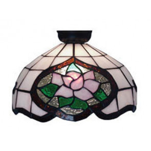 Flush Mount with Pink Floral and Green Leaf Design Domus Lighting