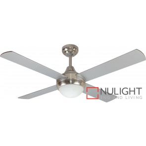 Glendale Ii 1200 Celing Fan With Light White Brushed Chrome MEC