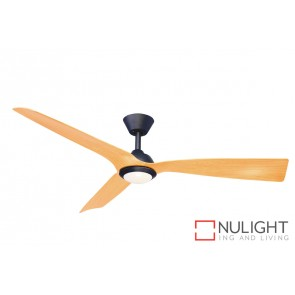 Trinidad II LED DC Ceiling Fan Natural Blade Black Base MEC