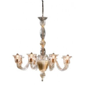 Italian Laguna Six Light Glass Chandelier in Gold Fiorentino