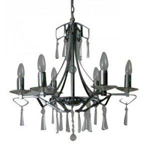 Linea Berna Six Light Chandelier in Chrome Fiorentino