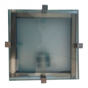 Linea Sima One Light Square Oyster Light in Satin Chrome Fiorentino