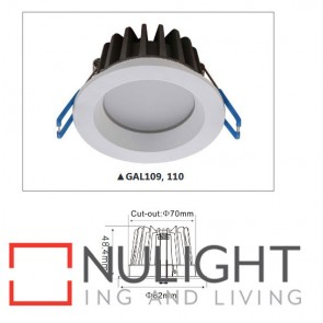 Downlight LED FIXED Satin Chrome Round 3000K 10W 90D 70mm IP54 ICF  (700 Lumens)  DOM CLA