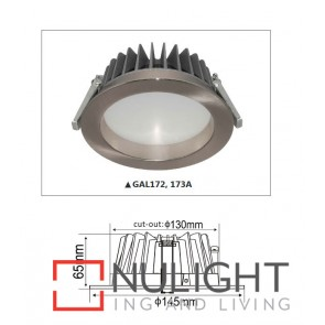 Downlight LED FIXED Dimmable Satin Chrome Round 3000K 14W 90D 130mm IP54 ICF (900 Lumens)  DOM CLA