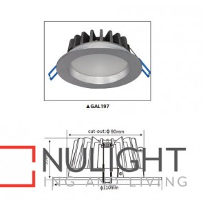 Downlight LED FIXED Dimmable SILVER Round 5000K 10W 90D Polycarbonate 90mm IP54 ICF (800 Lumens)  DOM CLA
