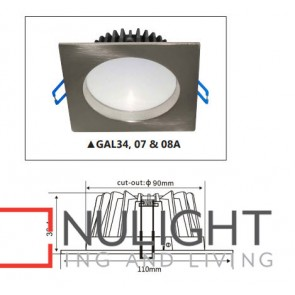 Downlight LED FIXED Dimmable Satin Chrome Square 3000K 10W 90D 90mm IP44 ICF (700 Lumens)  COM GAL CLA