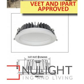 Downlight LED FIXED Dimmable White Round 3000K 18W 170mm IP54 ICF (1300 Lumens)  IPART APP CLA