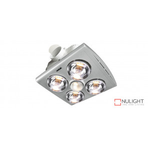 KLEIN 4 - Budget 4 Light 3 in 1 Bathroom Heat Exhaust - side duct - R80 100watt Incandescent Globe - Silver VTA