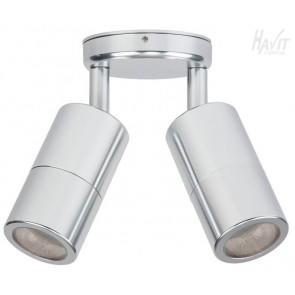 12V Double Adjustable 2 Light Wall Pillar Light in Silver Havit