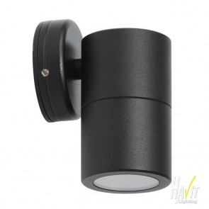 12V LED Tivah Small Outdoor Single Fixed Wall Pillar Light Long Body in Black Havit