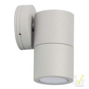 12V LED Tivah Small Outdoor Single Fixed Wall Pillar Light Long Body in Silver Havit