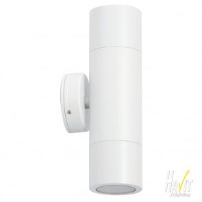 240V Tivah Two Light Outdoor Up/Down Wall Pillar Light in White Havit