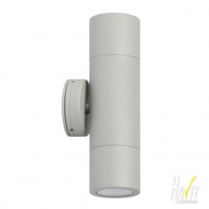 240V Tivah Two Light Outdoor Up/Down Wall Pillar Light Long Body in Silver Havit
