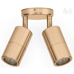 Double Adjustable 2 Light Wall Pillar Light in Gold Havit