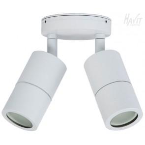 Double Adjustable 2 Light Wall Pillar Light in White Havit