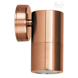 Single Fixed Wall Pillar Light in Solid Copper Havit
