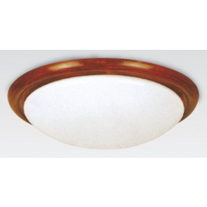 Tully Oyster-Fluorescent 32 Watt Flush Mount with Timber in Teak Hermosa Lighting