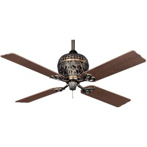 1886 Series Ceiling Fan in Amber Bronze with Four Distressed Cherry / Distressed Dark Walnut Switch Blades Hunter Fans