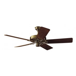 Classic Original Ceiling Fan in Bright Brass with Five Walnut / Oak Switch Blades Hunter Fans