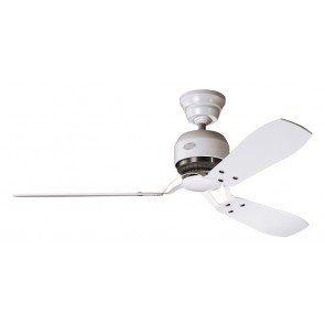 Industrie II Ceiling Fan in Chalk White with Three White / Maple Switch Blades Hunter Fans