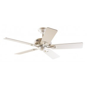 Savoy Ceiling Fan in White with Five White / Light Oak Switch Blades Hunter Fans