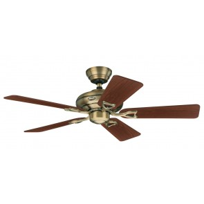Seville II Ceiling Fans in Antique Brass with Five Walnut / Medium Oak Switch Blades Hunter Fans