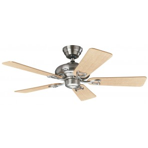 Seville II Ceiling Fans in Brushed Nickel with Five Maple / Grey Switch Blades Hunter Fans