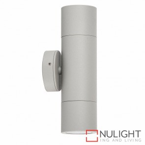 Silver Up/Down Wall Pillar Light 2X 10W Gu10 Led Cool White HAV