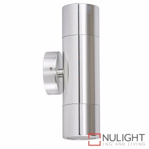 Silver Coloured Aluminium Up/Down Wall Pillar Light  2X 10W Gu10 Led Cool White HAV